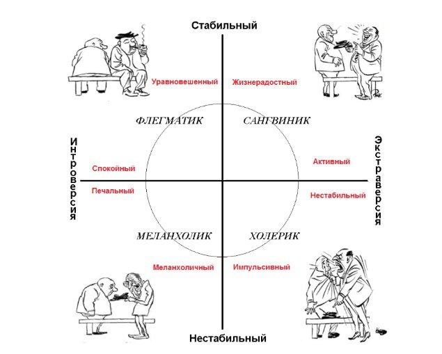 круг Айзенка флегматик сангвиник меланхолик холерик